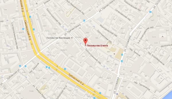 Посольство Египта на карте