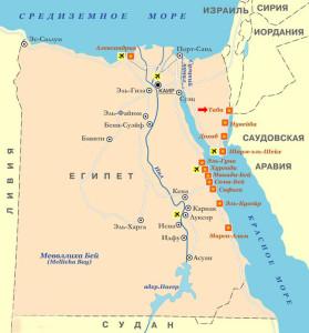 Таба на карте Египта