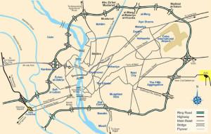Подробная схематическая карта пирамид Гизы в Каире с указанием достопримечательностей